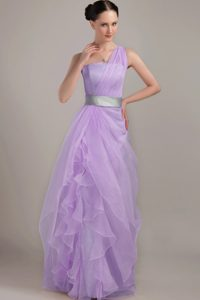 Sexy One Shoulder Lavender Prom Party Dress with Silver Sash in Long