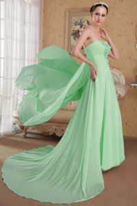 Spring Green Dresses for Prom Court with Appliques and Side Zipper