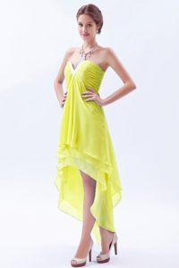 Yellow A-line V-neck High-low Prom Dresses for Girls with Ruches and Layers