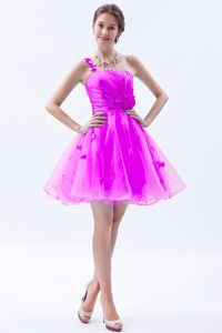 Clearance Princess One Shoulder Short Prom Dress in Hot Pink with Appliques