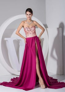 Fuchsia Sweetheart Court Train Dress for Prom Court with High Slit and Beads