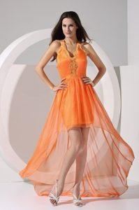 Cheap Halter-top High-low Junior Prom with Embroidery in Orange Red on Sale