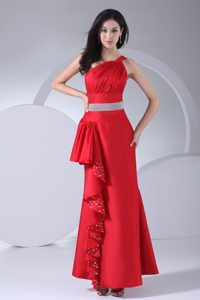One Shoulder Ruched Prom Party Dress with Beads and Ruffles in Ankle-length