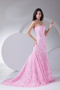 Sweetheart Sweep Train Prom Theme Dresses with Special Fabric on Promotion