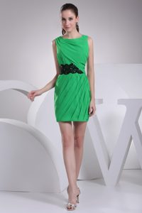 Scoop Ruched Mini-length Prom Pageant Dress in Spring Green with Black Sash