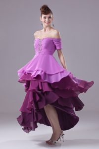 Off The Shoulder Beading Prom Celebrity Dress with Ruffled Layers