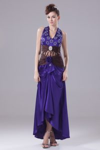 Halter-top Purple Prom Theme Dresses with Beads and Handle Flower in Taffeta