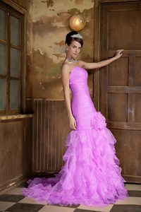 Lavender Mermaid Ruched Prom Party Dresses with Ruffles and Handle Flower
