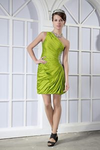 Olive Green Ruched One Shoulder Prom Party Dresses in Mini-length with Beads