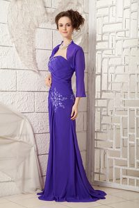 2014 Ruched and Appliqued Prom Celebrity Dress with One Shoulder in Purple