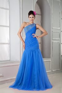 Mermaid Single Shoulder Prom Court Dresses in Blue with Beadings and Ruches