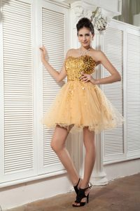 Classical Champagne Sequined Junior Prom with Sweetheart in Mini-length