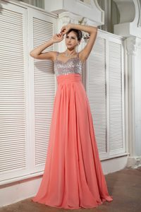 Watermelon Straps Prom Graduation Dresses with Sequins for Spring