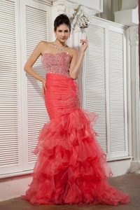 New Coral Red Mermaid Prom Celebrity Dress with Beads and Ruffles for 2014