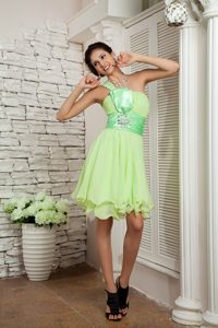 Yellow Green Beaded Empire Prom Court Dresses with One Shoulder