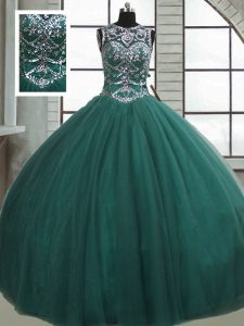 Dark Green Sleeveless Floor Length Beading Lace Up Ball Gown Prom Dress