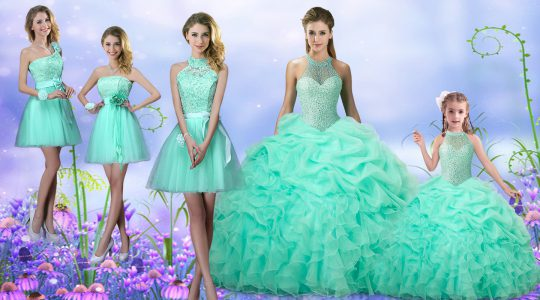 Apple Green Sleeveless Floor Length Beading and Ruffles and Pick Ups Lace Up Quinceanera Gown
