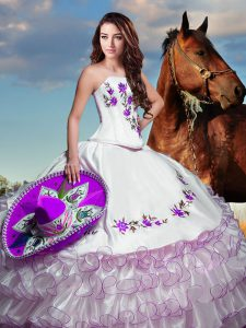 Glittering Taffeta Sleeveless Floor Length Quinceanera Gowns and Embroidery and Ruffled Layers