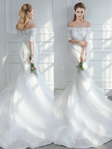 White Lace Up Wedding Gown Lace and Appliques Half Sleeves Court Train