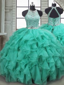 Turquoise Scoop Lace Up Beading and Ruffles Quinceanera Dresses Brush Train Sleeveless