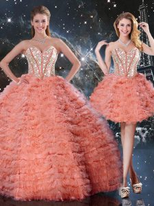 Sleeveless Lace Up Floor Length Beading and Ruffled Layers Sweet 16 Quinceanera Dress