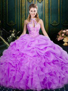 Stunning Halter Top Sleeveless Organza 15th Birthday Dress Beading and Ruffles and Pick Ups Lace Up