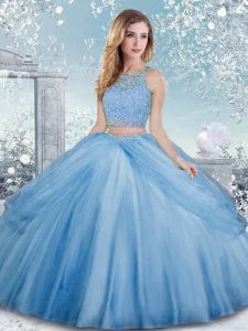 Designer Ball Gowns Quinceanera Dresses Baby Blue Scoop Tulle Sleeveless Floor Length Clasp Handle