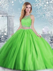 Tulle Sleeveless Floor Length Quince Ball Gowns and Beading and Sequins