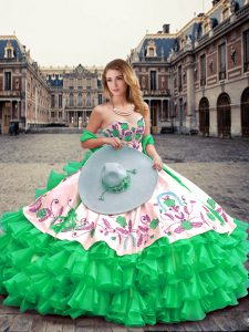 Wonderful Green Ball Gowns Organza Sweetheart Sleeveless Embroidery and Ruffled Layers Floor Length Lace Up Quinceanera