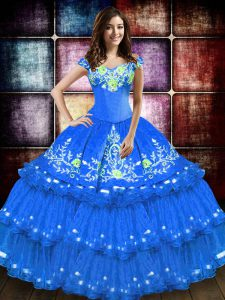 Floor Length Blue Sweet 16 Quinceanera Dress Off The Shoulder Sleeveless Lace Up