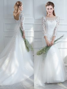 Eye-catching Long Sleeves Lace Lace Up Wedding Gown with White Court Train