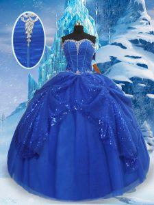 Floor Length Royal Blue 15th Birthday Dress Tulle Sleeveless Beading and Pick Ups
