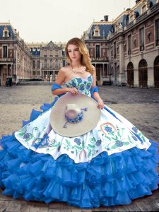 Ball Gowns Vestidos de Quinceanera Blue And White Sweetheart Organza and Taffeta Sleeveless Floor Length Lace Up