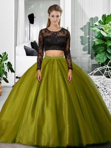 Olive Green Two Pieces Tulle Scoop Long Sleeves Lace and Ruching Floor Length Backless Ball Gown Prom Dress