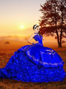 Stunning Royal Blue Ball Gowns Sweetheart Sleeveless Organza Brush Train Lace Up Embroidery and Ruffles Quinceanera Dres