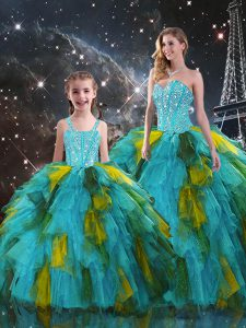 Stylish Sleeveless Floor Length Beading and Ruffles Lace Up Sweet 16 Quinceanera Dress with Multi-color