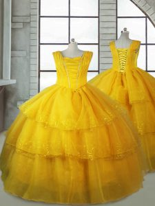 Gold Ball Gowns Organza V-neck Sleeveless Ruffled Layers Floor Length Lace Up Little Girl Pageant Gowns