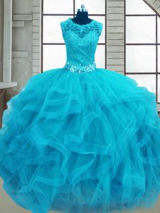 Baby Blue Ball Gowns Beading and Ruffles Quinceanera Gown Lace Up Tulle Sleeveless Floor Length