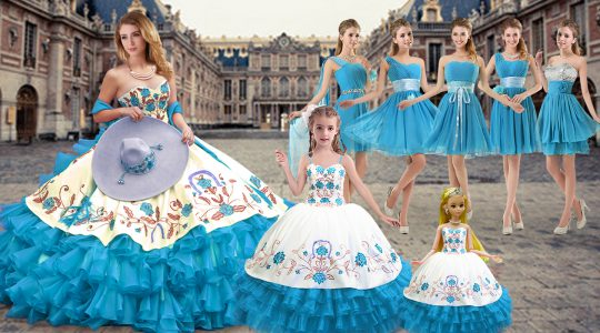 Exceptional Baby Blue Ball Gowns Embroidery and Ruffled Layers 15th Birthday Dress Lace Up Organza Sleeveless Floor Leng