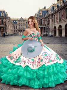 Great Turquoise Organza Lace Up Quinceanera Gown Sleeveless Floor Length Embroidery and Ruffled Layers