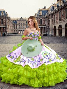 Deluxe Yellow Green Organza Lace Up Quinceanera Dress Sleeveless Floor Length Embroidery and Ruffled Layers