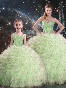 Sleeveless Organza Lace Up 15 Quinceanera Dress for Military Ball and Sweet 16 and Quinceanera