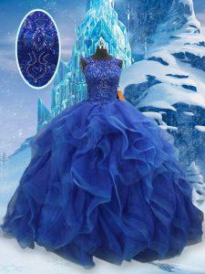 Ball Gowns Sweet 16 Dress Blue Scoop Organza Sleeveless Floor Length Lace Up