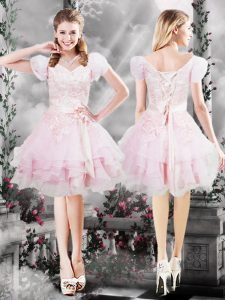 Low Price A-line Prom Dresses Baby Pink V-neck Organza Short Sleeves Knee Length Lace Up