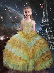 Top Selling Champagne Sleeveless Beading and Ruffled Layers Floor Length Pageant Gowns For Girls