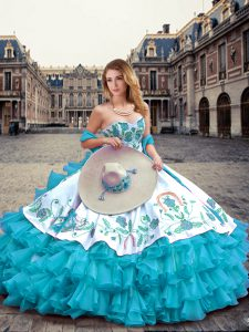 Deluxe Blue And White Ball Gowns Embroidery and Ruffled Layers Quinceanera Dress Lace Up Organza and Taffeta Sleeveless