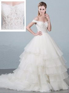 Off The Shoulder Sleeveless Wedding Gown Brush Train Lace and Ruffled Layers White Organza