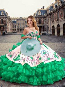 Sweetheart Sleeveless Lace Up Vestidos de Quinceanera Green Organza and Taffeta