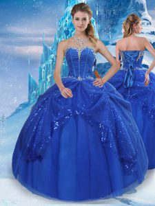 Royal Blue Lace Up Sweetheart Beading and Pick Ups Sweet 16 Quinceanera Dress Tulle Sleeveless