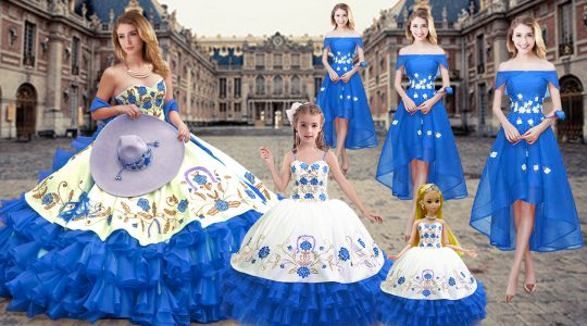 Dramatic Floor Length Royal Blue Quinceanera Dresses Sweetheart Sleeveless Lace Up